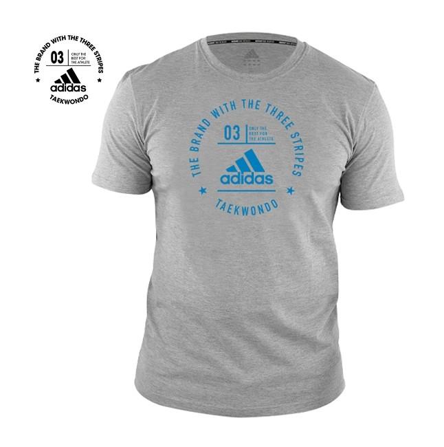 Adidas Taekwondo Community T-Shirt (Heather Grey & Shock Cyan)