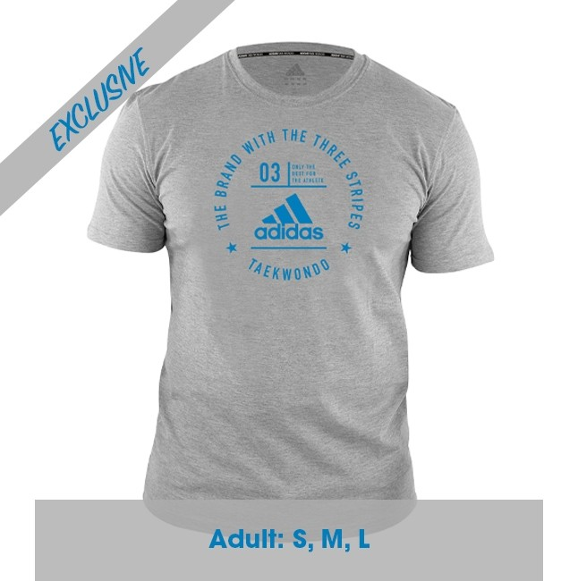 Adidas Taekwondo Community T-Shirt (Heather Grey & Shock Cyan)