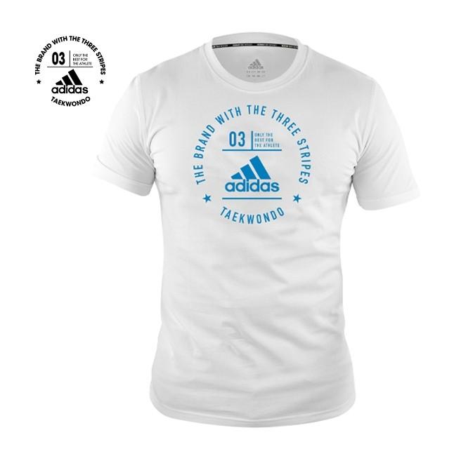 Adidas Taekwondo Community T-Shirt (White & Shock Cyan)